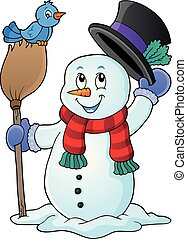 Winter snowman subject image 1 - eps10 vector illustration.