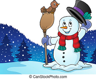 Winter snowman subject image 4 - eps10 vector illustration.