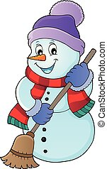 Winter snowman subject image 5 - eps10 vector illustration.
