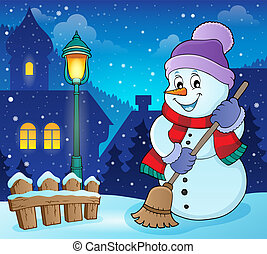 Winter snowman subject image 6 - eps10 vector illustration.