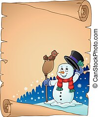 Winter snowman subject parchment 1 - eps10 vector...
