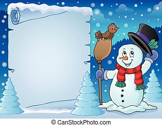 Winter snowman subject parchment 2 - eps10 vector...