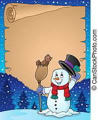 Winter snowman subject parchment 3 - eps10 vector...