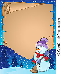 Winter snowman subject parchment 4 - eps10 vector...