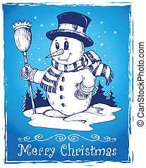 Winter snowman theme drawing 3