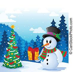Winter snowman theme image 5 - vector illustration.