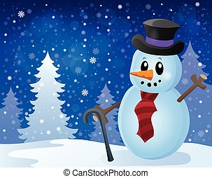 Winter snowman topic image 8 - eps10 vector illustration.