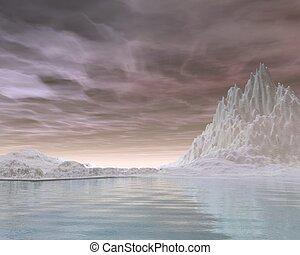 Winter Snowscape - 6 - Frozen winter landscape covered in...