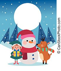 winter snowscape christmas scene with snowman