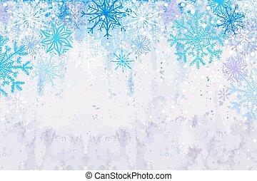 winter, snowstorm, horizontaal, achtergrond