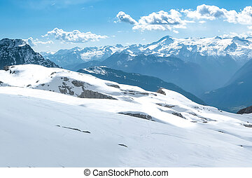 Winter snowy alpine landscape