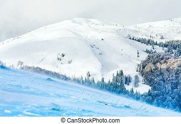 Winter snowy and windy mountain view - Winter snowy and...