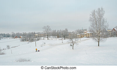 Winter snowy countryside landscape with people.