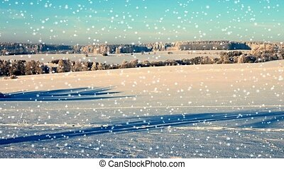 Winter snowy landscape - Abstract animated falling snow on a...