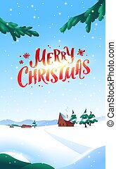 Winter snowy landscape with mountains, fir trees, little houses, trail in snowbanks, blue sky, firry branches, bushes and  falling snowflakes. Vector flat illustration.