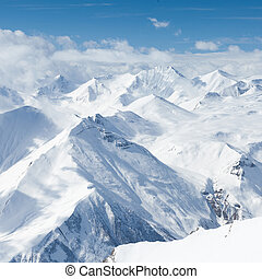 Winter snowy mountains. Caucasus Mountains, Georgia,...