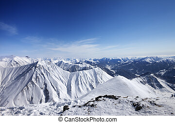 Winter snowy mountains. Panoramic view. Caucasus Mountains,...
