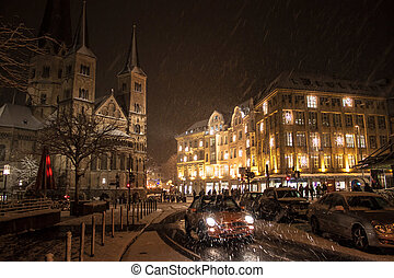 Winter snowy view of the center of Bonn, Germany