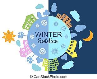 Winter Solstice concept on december 21. Vector illustration