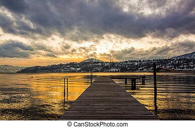 winter, sonnenuntergang, ansicht