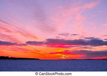 winter, sonnenuntergang, aus, gefrorenes, ostsee, in, finnland