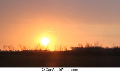 winter, sonnenuntergang, driving., ontario.