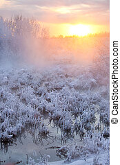 winter, sonnenuntergang, landschaftsbild
