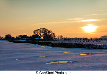 winter, sonnenuntergang