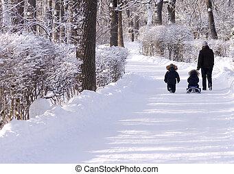 winter, spaziergang