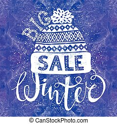 Winter Special banner or label with a knitted woolen cap on watercolor background. Business seasonal shopping concept big sale.