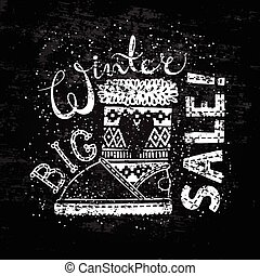 Winter Special banner or label with boot. Business seasonal shopping concept big sale.