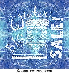 Winter Special banner or label with boot on watercolor background. Business seasonal shopping concept big sale.