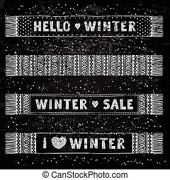 Winter Special banner or label with knitted woolen scarves. Business seasonal shopping concept sale.