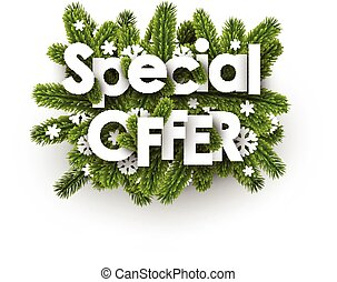 Winter special offer background with snowflakes.