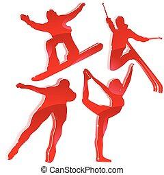 winter, spelen, silhouettes, in, rood