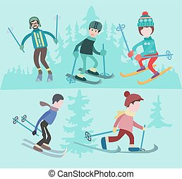 Flat vector illustration of people skiing.