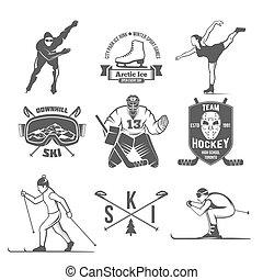 Winter sport badges set