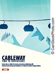 Winter Sport. Cableway. Mountain landscape. Snowboarder in motion. Vector illustration.
