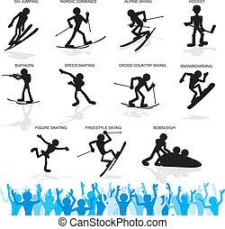 Winter Sport Cartoon Silhouettes