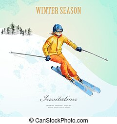 Winter sport. fashion girl skier. watercolor. vintage poster for