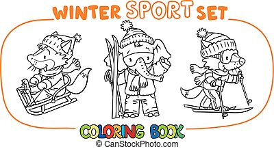 Winter sport. Funny animals coloring book set
