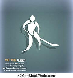 Winter sport, Hockey  icon. On the blue-green abstract background with shadow and space for your text. Vector