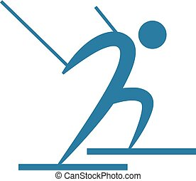 Downhill skiing icon - Winter sport icon - Downhill skiing...