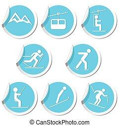 Winter sport icons set
