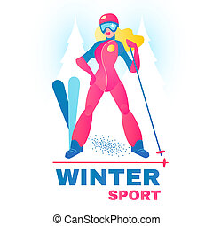 Winter Sport Label. Alpine Slier Girl in Forest.