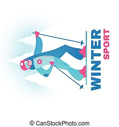 Winter Sport Label. Man Alpine Slier in Forest.