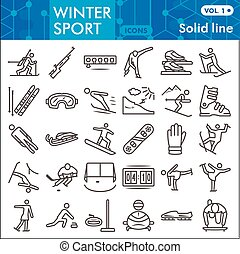 Winter sport line icon set, Tools of winter sports symbols collection or sketches. Extreme sports linear style signs for web and app. Vector graphics isolated on white background