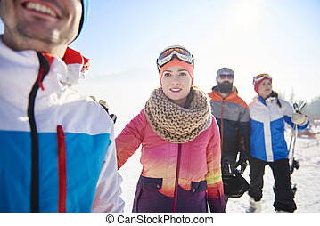 Winter sport lovers having an adventure