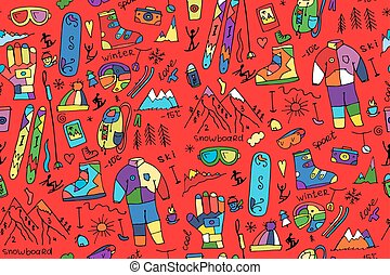 Winter sport, seamless pattern for your design. Vector...