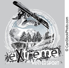winter sport snowboard - illustration for shirt printed and...